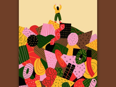 Getting on top of the chaos illustration art freedom hill mountain pattern top success victory chaos colorful geometry abstract character illustration