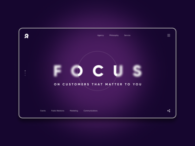 Focus ON... Marketing agency website concept blur focus website web agency marketing concept ui ux