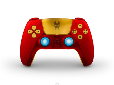New concept designs for the DualSense PS5. Iron Man red dualsense dualshock playstation5 concept marvel gamepad games ironman