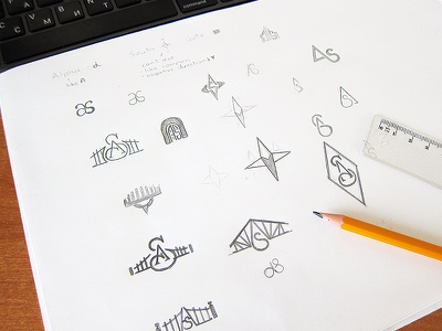 Alpha South logotype south alpha paper brand pen drawing pensil graphic logotype logo