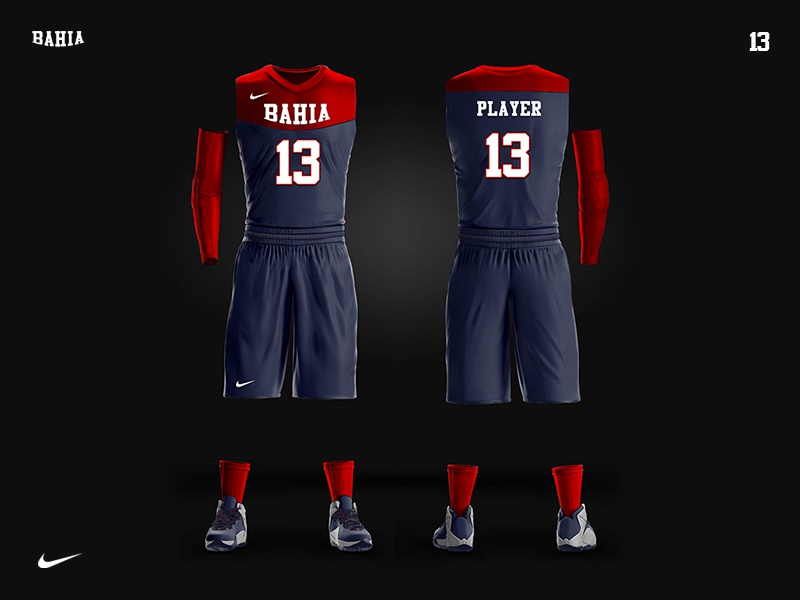 579d4a02c202 BAHIA team - basketball uniform design nike 13 blue red sneakers tshort  sport shorts team design