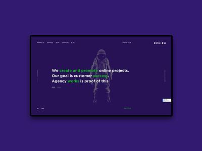 ECHIZH. Dev agency landing page landing landing page astronaut violet studio seo mobile app development agancy