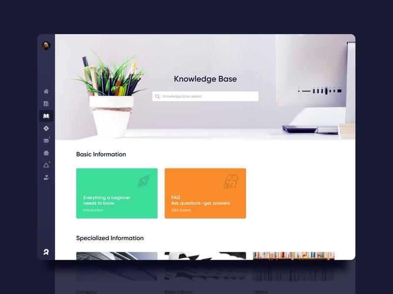 Corporate dashboard. Knowledge base