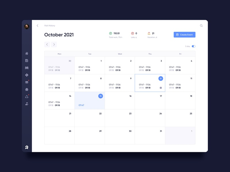 Corporate dashboard. The calendar & time tracking admin work tracking time calendar dashboard ui ux