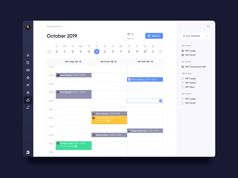 Corporate dashboard. Meeting rooms order