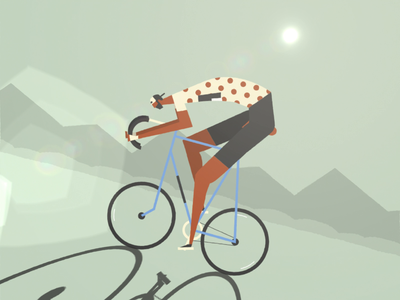 Cycle Climb mountain biker bike climb cycling tourdefrance cyclist illustration loop flat design animation