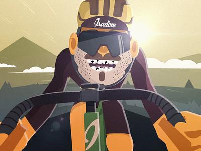 Cyclist sprinter branding isadore cyclist biker bike illustration loop flat design animation
