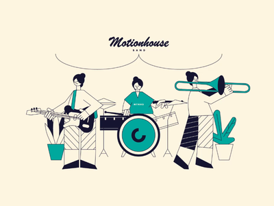 Band music album trombone bass guitar drums loop music band flat animation design illustration