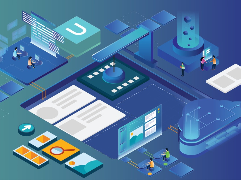 Component based software saas landing page saas services cloud rapid light technology components factory isometric iot internet of things blue app builder umajin design illustration