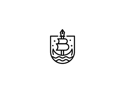 Pen Boat logo for sale unused logo unused concept mark identity logo bay notary shield boat pen