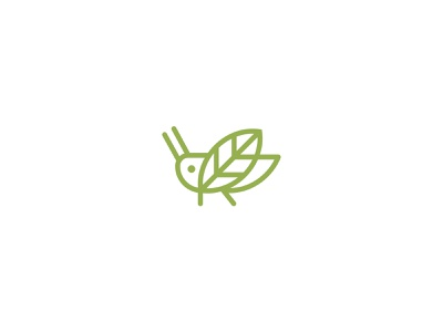 Cricket Superfood health organic leaf green nutrient superfood flour logo grasshopper insect cricket