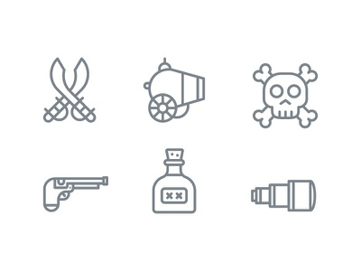 Pirate icons cannon binocular rum gun skull sword icons icon pirate