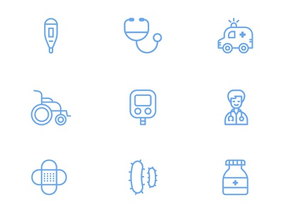 Hospital Icons care health medical pills bottle pills bacteria bandaid doctor glucometer wheel chair wheelchair ambulance stethoscope thermometer icons icon hospital