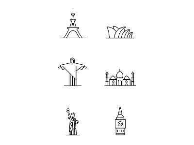Landmarks london agra paris rio de janeiro newyork sydney sydney opera house christ the redeemer big ben taj mahal eiffel tower the statue of liberty icongraphy icons icon world cities cities landmarks