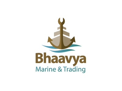 Bhaavya marine ship service travel anchor water trading wrench repair logo