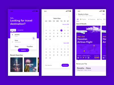 Holo App_Screens traveling calender airline travel travel app