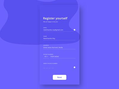 Registration_Screen dailyui ux design uidesign app concept uiux