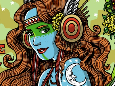 Moon Valkyrie illustration art illustration trippy concert poster rock poster rock art psychedelic hand drawn lithograph jam band gigposter
