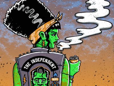 Bride of San Francistein diptych san francisco grungy greaser frankenstein creature monster hand drawn illustration art illustraiton printmaking silkscreen screenprint poster art poster rock poster rock art the growlers gigposter