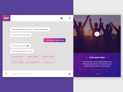 Juo - Conversational Interface conversational chat bot chatbot chat design product ux ui