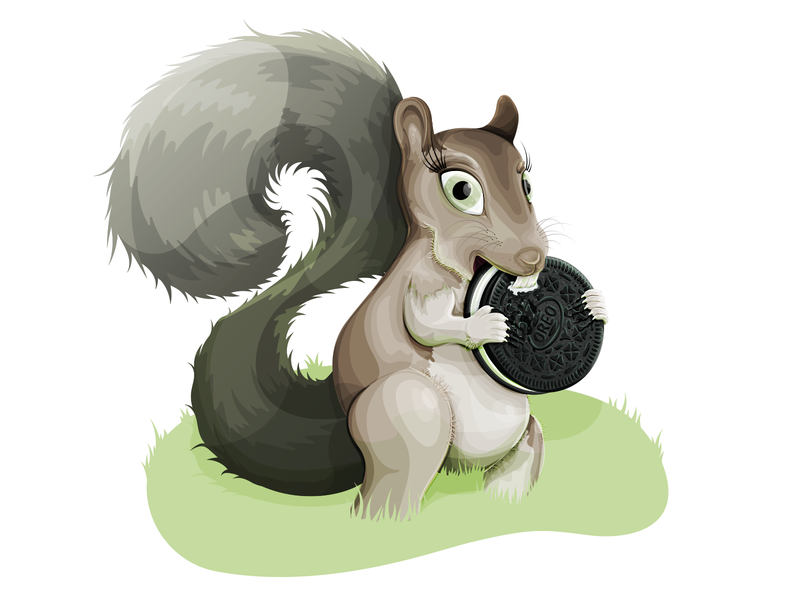 Squirrel eating an Oreo vector illustration vector illustrator green illustration digital illustration 2d nature illustration oreo illustration squirrel character small animal animal nature squirrel oreo
