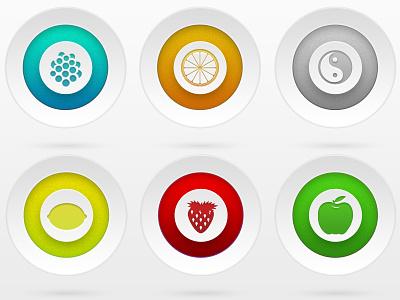 Fruit Circles ui circle simple fruit yin yang button