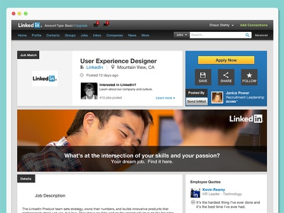 LinkedIn Redesign redesign uiux navigation linkedin layout jobs job board