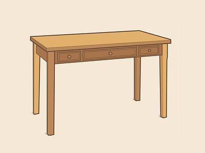 A Wooden Desk furniture desk line art illustration