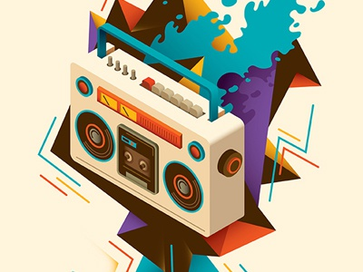 Abstract illustration with isometric radio. modern composition print colorful illustration vector abstraction radio