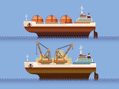 Industrial ships. load freight graphic design color artwork transport ocean transportation nautical crane sailing creative giant tanker retro illustration vector industry ships