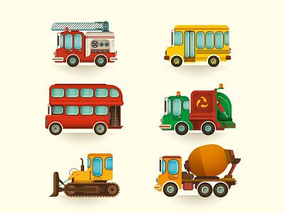 Vehicles set. industry lorry traffic color collection bulldozer set vector design illustration retro font graphic transportation drive wheels truck business car transport vehicle