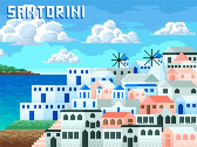 Santorini in 8 Bit landmark buildings history beauty adobe photoshop adobe illustrator greek greece holiday island tourism vacation scenery landscape vector illustration santorini 8 bit pixel art pixel