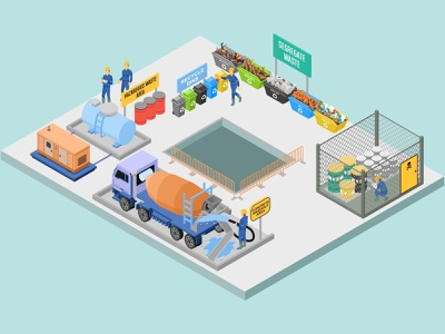 Waste And Housekeeping In Construction Sites Management waste management mobile application construction site landing page low poly flat futuristic technology asset digital interface map website infographic illustration vector isometric