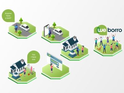 Weborro Marketplace - Website Illustration ui ux apps marketplace low poly landing page building flat futuristic technology asset digital application mobile interface map website infographic illustration vector isometric