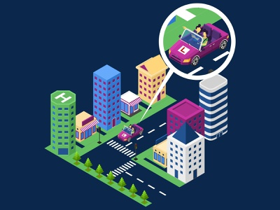 Driving Course mobile apps training course car driving training driving course landing page low poly building flat futuristic technology digital interface map website infographic illustration vector isometric