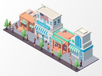 Sidewalks And Various Shops sidewalk landmark store shop landing page low poly building flat futuristic technology digital application interface icon map website infographic illustration vector isometric
