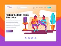 Playing Partner Landing Page Flat Illustration
