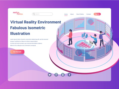 Virtual Reality Environment Landing Page Illustration isometric vector illustration infographic website interface mobile application digital asset technology futuristic landing page low poly gradient virtual reality augmented reality team work