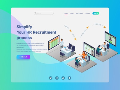 HR Recruitment Process Landing Page Illustration asset icon gradient futuristic low poly mobile apps landing page concept recruitment human resource landing page interface ui technology infographic website flat isometric vector illustration