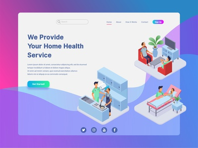 Home Health Service Landing Page Illustration feature gradient application apps mobile health service helath ui landing page concept futuristic low poly technology infographic website icon flat isometric vector illustration