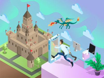 Escape from the Reality palace mixed reality game dragon medieval modern technology conceptual art landing page gradient low poly flat illustration vector isometric