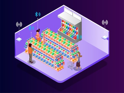 MIST Helps You to Determine the Rightest Product at Store industry market cart device shop store website design futuristic low poly digital technology flat illustration vector isometric