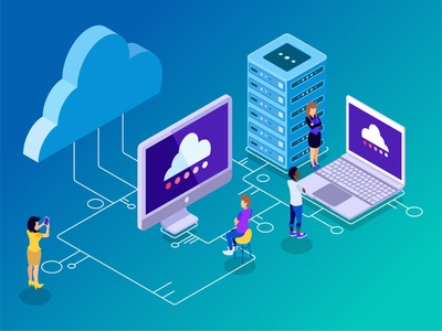 The New Way to Connect and Backup wire circuit board artwork design monitoring connect computer cloud server big data futuristic technology digital website low poly infographic flat illustration vector isometric