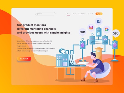 Marketing Channels Monitoring Flat Illustration for Landing Page graphic design modern gradient application marketing industrial machine apps conceptual landing page interface ui infographic technology digital website icon flat illustration vector