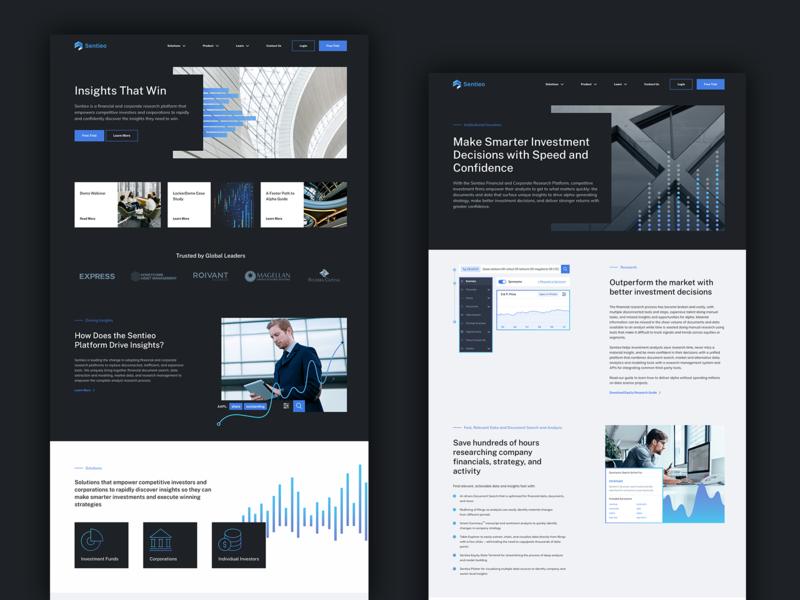 Sentieo Website Design darkmood new york london design financial finance development website san francisco saas fintech