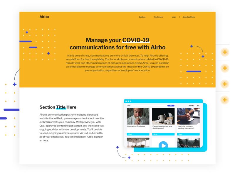 Airbo Covid-19 Landing Page platform plus yellow communication los angeles saas branding website human resources landing page covid-19 cornovirus