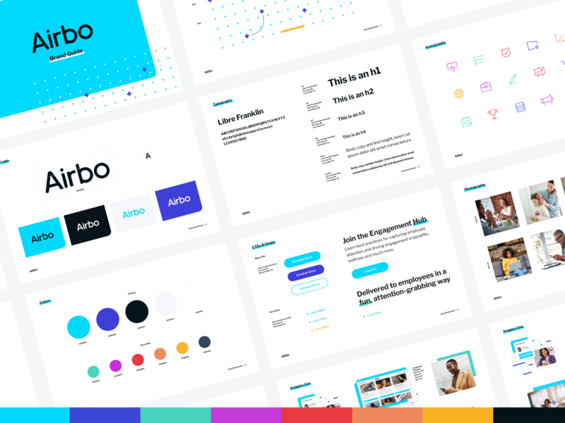Airbo Brand Guide branding icons color palette brand style brand guide benefits plus human resources hr los angeles saas