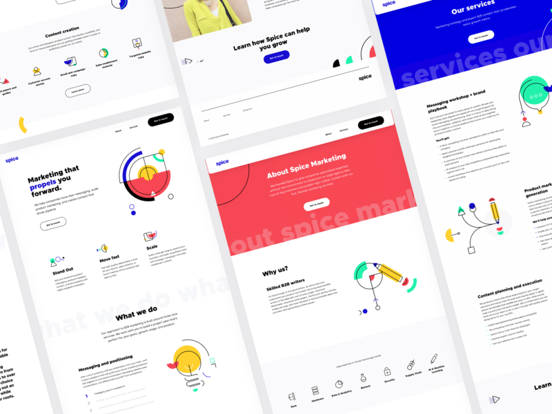 Spice Marketing Website content marketing bright colors illustration clean minimal website branding