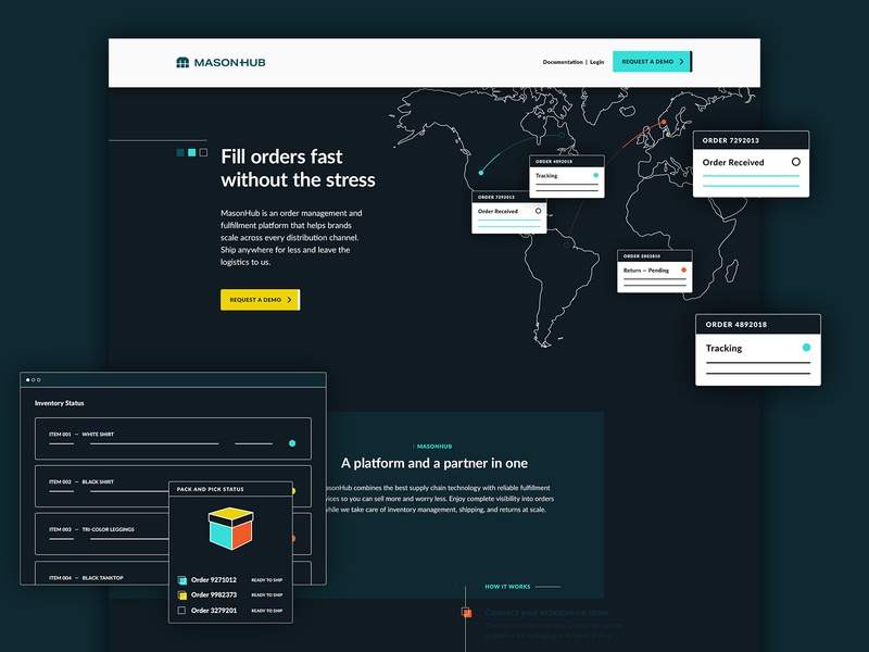 MasonHub Website Homepage ux website clean ecommerce shipping fulfillment saas darkmode