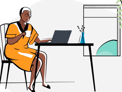 Work From Home coffee home desk yellow dress rental property management work from home stay home animation illustration